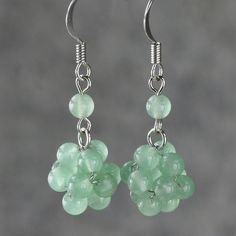 Jade ball drop Earrings handmade ani designs by AnniDesignsllc, $12.95