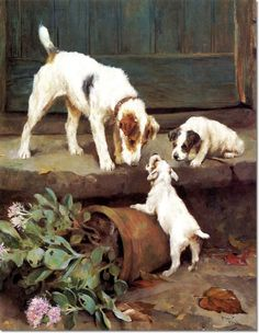 Arthur Wardle - A Wire Haired Fox Terrier with Puppies Painting