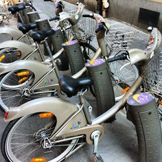 Vélib, a self-service bycicle in Paris.  39 euros a year subscription. But every 45 minutes you have to plug it back (search for the station). If not, you're paying for next half an hour the additional 1,5 euros.  On Twitter: @Velib_Paris