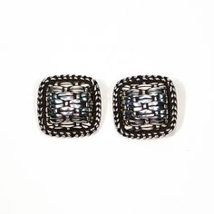 Square Sterling Silver Basketweave Pattern Earrings by John Hardy