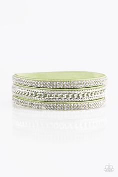 Unstoppable - Green Bracelet - $5  Glassy white rhinestones and shimmery silver chains are encrusted along strands of green suede, creating a mishmash of sassy shimmer around the wrist for a fierce look. Features an adjustable snap closure.  Sold as one individual bracelet.