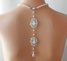Backdrop Necklace - Pearl Wedding Necklace with Crystal Medallions by AmbrosiaBridal on Etsy