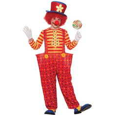 If your child is amazed by the circus and clowns in general, they will love this vividly-colored, fantastic looking clown costume. Multi-colored hat with flower on front, red and yellow striped shirt