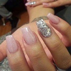 Pale pink with silver glitter gel nails
