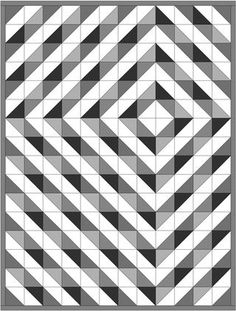 Several half square triangle quilt design options using shades of light and dark