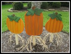 Wood Pumpkin Fall Decoration Yard Stake Yard by WildeWoodTreasures, $35.00