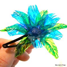 Upcycled Blue Fantasy Flower HAIR CLIP made from Recycled Water Bottles - $10.00