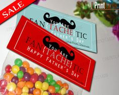 DIY Printable Treat Bag Toppers - Happy Father's Day - Mustache - Party Favors - Personalized Digital Labels .pdf file. $4.00, via Etsy.