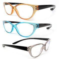 d49fc11d4a2 Details about Hang Neck Spring Hinges Cat Eye Sparkling Reading Glasses  100-400