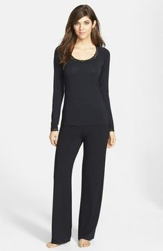 Feathers Lace Trim Pajamas - Lyst