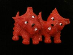 Art Deco, RARE, red, Celluloid, Scottish terrier, brooch with moving parts! - 98 usd