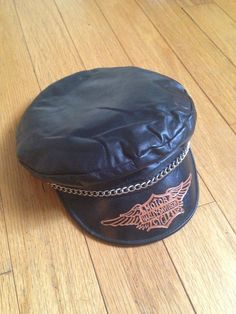 Rare vintage harley davidson black leather biker cap hat small f326636b4291