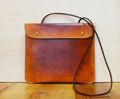 Handmade brown/yellow leather bag  Vintage / Retro by kiwabags, $149.00