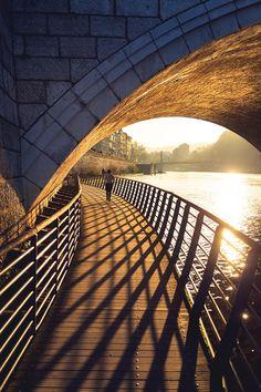 "Quai Tilsitt - Gril running in the golden glow at the boardwalk off Quai Tilsitt, under bridge Pont Bonaparte in Lyon.  If you like my work, you can follow my almost daily feed at <a href=""https://www.instagram.com/sandervdw/"">INSTAGRAM </a>"