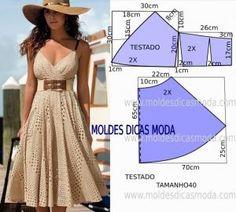 strih na letné dámske šaty -MOLDE DE VESTIDO GODE