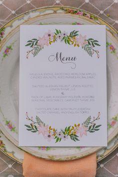 boho chic wedding menu idea #calligrarphy #weddingpaper #flowerpower