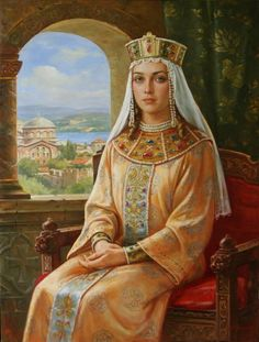 Girl from the century - Byzantine fashion Russian Folk, Russian Art, Medieval Art, Medieval Fantasy, Olga Of Kiev, Medieval Paintings, Templer, Russian Painting, Byzantine Art