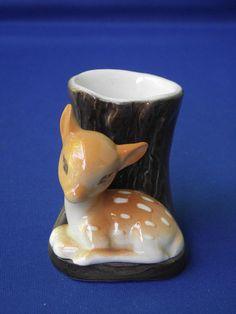Vintage Hornsea Pottery England Tiny Fauna Vase Deer Fawn Tree Trunk