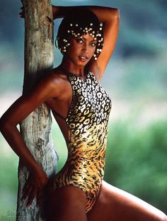 8db7c5e219 Leopard Print Swimsuit.  golden . Georgianna Robertson - Sports Illustrated  Swimsuit 1996 Photographed by