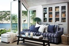 Stockholm Vitt - Interior Design: Indigo is for Summer! Beach Cottage Style, Coastal Style, Coastal Homes, Coastal Living, Colonial, Interior And Exterior, Interior Design, Porche, House With Porch