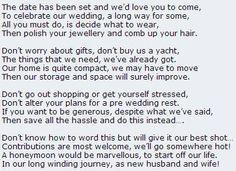 Wedding Invitations Asking For Money Template Poem Politely Cash Towards The Honeymoon Instead