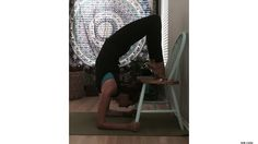 Scorpion Pose Over a Chair