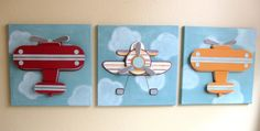 Darling airplane canvases for Little Man's room. #airplane