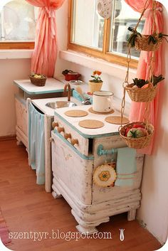 DIY up cycled furniture as kids play kitchen!  Cheaper, more fun, and SO much cuter than the plastic ones you buy at a store!