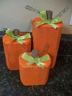 DIY wooden pumpkins! So easy and perfect for fall or Halloween decorations!
