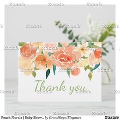 Peach Florals | Baby Shower Thank You Baby Shower Thank You Cards, Thank You Notes, Florals, Peach, Place Card Holders, Flowers, Peaches, Prunus