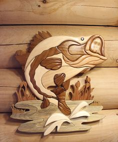 "This handmade Intarsia Fish is the perfect art piece for your rustic log cabin! Measures 16"" x 16""."