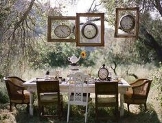 yard decorations, hanging clocks in wooden frames