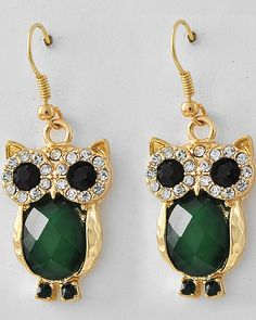Emerald Crystal Owl Earrings on Emma Stine Limited Butterfly Jewelry, Owl Jewelry, Fashion Jewelry Necklaces, Animal Jewelry, Fashion Earrings, Jewelery, Vintage Jewelry, Jewelry Accessories, Women Jewelry