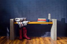 Concrete bench with cedar plank benchtop