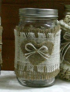 Burlap wedding centerpiece Candle and flower vase by Bannerbanquet, $7.00