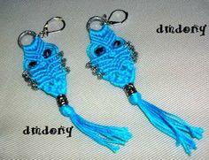 LE CREAZIONI DI DONY: orecchini ......gufettini azzurri a macramee