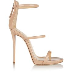 Giuseppe Zanotti Harmony patent-leather sandals (£475) ❤ liked on Polyvore featuring shoes, sandals, heels, high heels, giuseppe zanotti, beige, patent shoes, heeled sandals, stilettos shoes and beige patent leather sandals