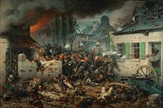 1815, Jun 18 Waterloo: The Prussian attack on Plancenoit by Adolph Northen