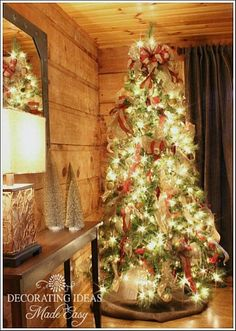 See a whole log cabin decorated for the holidays!