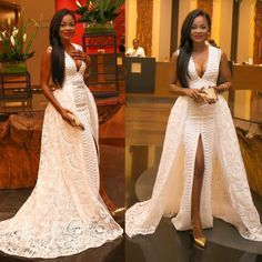 Cheap prom dresses, Buy Quality lace prom dress directly from China dresses with detachable train Suppliers: Vestidos de Fiesta 2017 2017 Sexy Deep V-Neck Lace Prom Dress with Detachable Train Front Slit Formal Party Gowns Robe De Soiree African Dresses For Women, African Attire, African Wear, African Women, African Clothes, African Style, African Lace, Evening Dresses, Prom Dresses