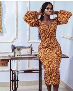 Get this African Print Midi Dress - Balloon Sleeves - Ankara - African Dress - Handmade - Africa Clothing - African Fashion. African Print Clothing, African Print Dresses, African Fashion Dresses, Fashion Outfits, Fashion Ideas, African Dress Styles, African Style, Fashion Inspiration, African Print Fashion