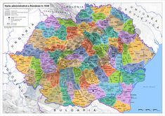 The administrative map of Romania in Romania, Diagram, World, Maps, Europe, Cartography, Geography, Cards, Alternative