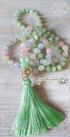Green Silk Tassel Necklace, #VintageRoseGallery #etsy Spring Gemstones Necklace, Pastel Colourful Boho Chic Necklace,by VintageRoseGallery