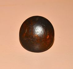vintage small brown wood round knob handle cabinet pull #Unbranded