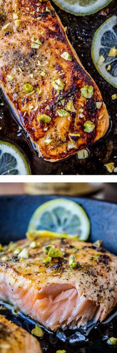 Pan-Seared Salmon wi  Pan-Seared Salmon with Maple Glaze and Pistachios from The Food Charlatan // 30 minutes tops!