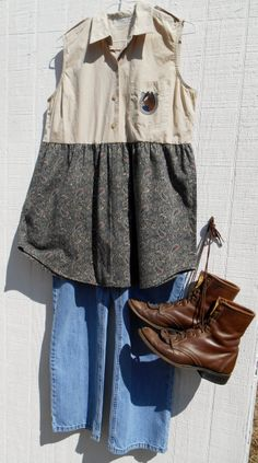 Upcycled Funky cowgirl tunic looks great with jeans and boots Size Xsmall to Medium  $42.99 RagTagsOriginals on Etsy