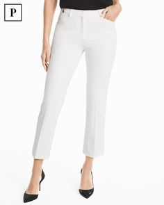 These universally flattering pants feature a classic rise and a cropped silhouette, which make the legs look longer. Made with just enough, this style is designed to fit like a glove. We love them with a tucked-in tee and our Black Patent Chunky Heels for a look that takes you beyond the office.  WHBM | Petites Fashion