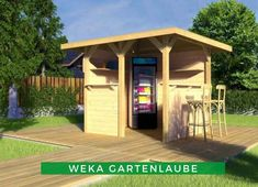 Gartenlaube bauen: Die WEKA Gartenlaube schützt vor Regen, Wind und Sonne. Dank des gradlinigen Designs passt Sie in jeden Garten und lädt zum gemütlichen Verweilen oder Grillabende mit den Liebsten ein. Shed, Outdoor Structures, Designs, Patio, Hobbit Houses, Garden Arbor, Home And Garden, Rain, Sun