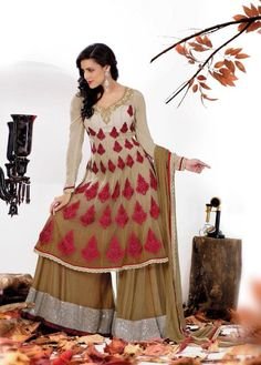 $138.40 Brown Embroidered and Stone Work Pakistani Salwar Suit 22382