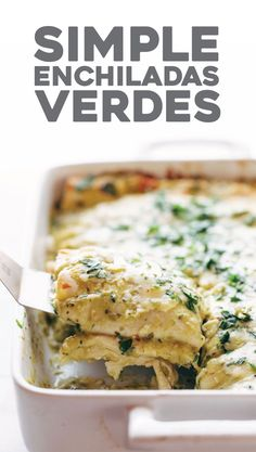 Enchiladas Verdes, with a simple homemade roasted tomatillo sauce that will make your tastebuds rock out. Plus chicken and cheese and tortillas, mushrooms if you're feeling wild. Super yum.   pinchofyum.com